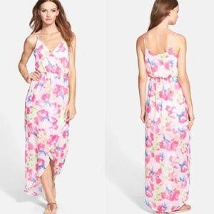 Lush Floral Watercolor Wrap Maxi Dress